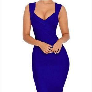 Bandage blue dress